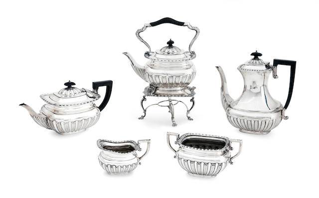 A  five piece silver tea service by The Alexander Clark Manufacturing Co., Birmingham 1906/10