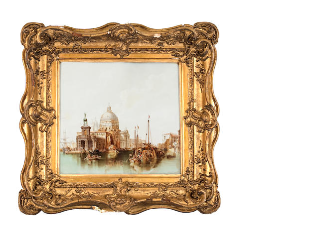 A ceramic plaque painted with a view of Santa Maria Della Salute, 19th century