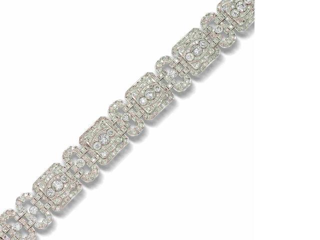 A diamond plaque bracelet,
