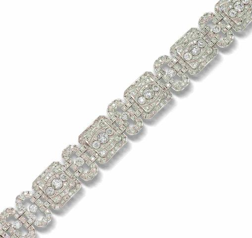 A diamond plaque bracelet,