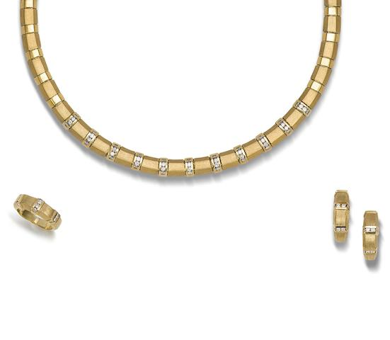 A diamond-set necklace, earring and ring suite (3)