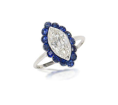 A diamond and sapphire cluster ring,
