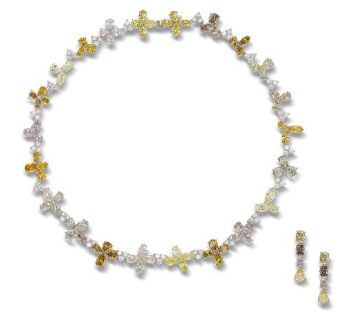 A multi-coloured diamond necklace (2)