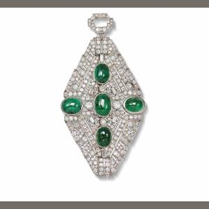 An art deco emerald and diamond brooch/pendant,