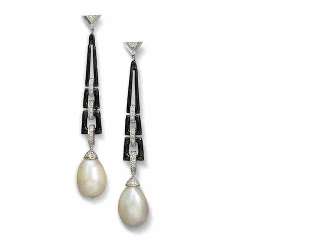 A pair of art deco natural pearl earrings,