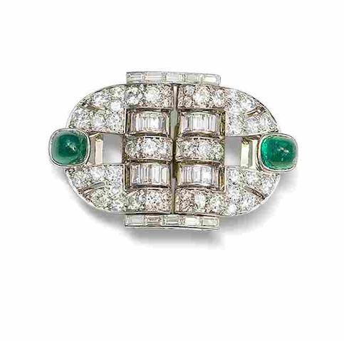 An art deco emerald and diamond double-clip brooch,