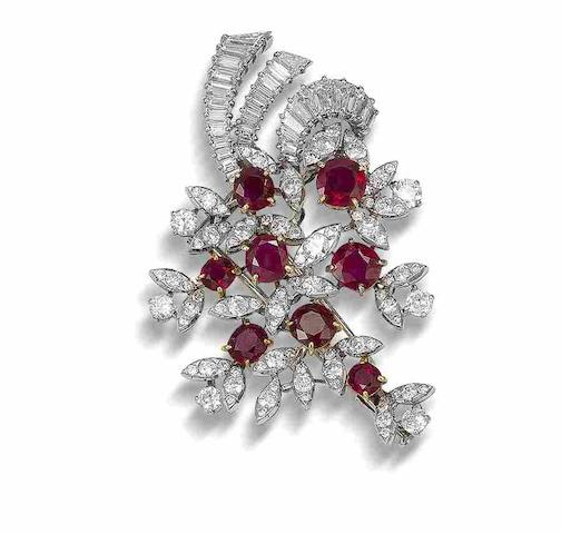 A ruby and diamond brooch, by Van Cleef & Arpels,