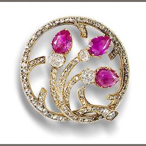 A ruby and diamond brooch, by Fabergé,