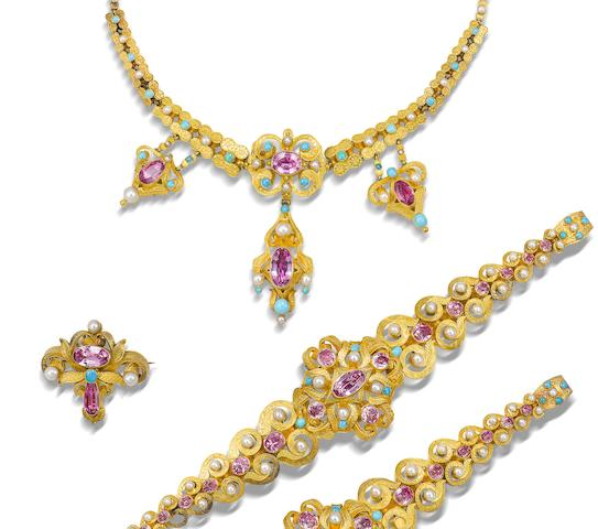 A gold, foiled topaz, turquoise and seed pearl parure, original clasp and extra links, necklace cartouche and pendants detachable (6)