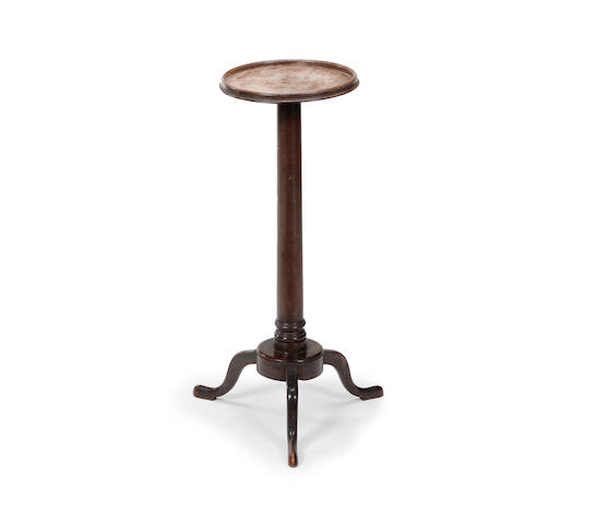 A mid-18th century walnut and beech candlestand