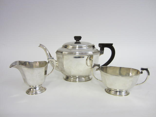 A silver three piece tea service  by William Neale & Son Ltd., Chester 1937
