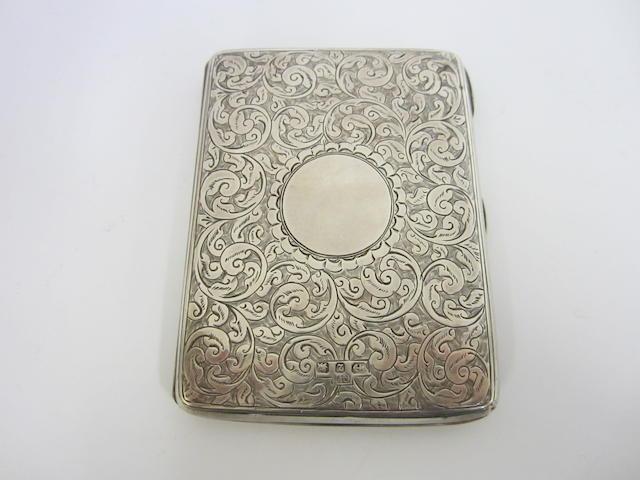 A Victorian silver card case by George Unite, Birmingham 1899