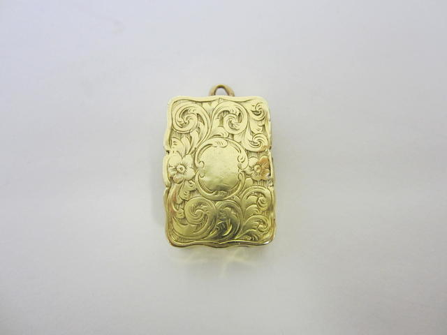 A Victorian 18ct gold rectangular vinaigrette by Edward Smith, Birmingham 1855