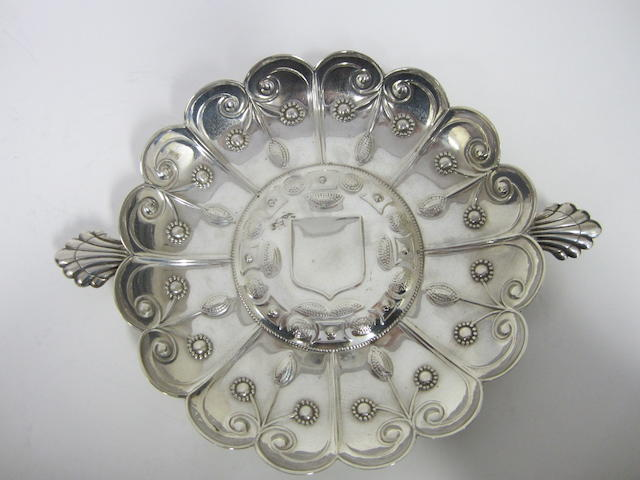 An Edwardian silver embossed dish by James Dixon & Sons, Sheffield 1908