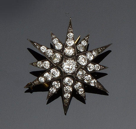 A Victorian diamond star brooch