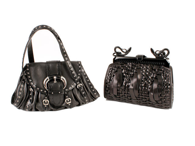 Two Dior black leather bags - one woven leather and the other studded