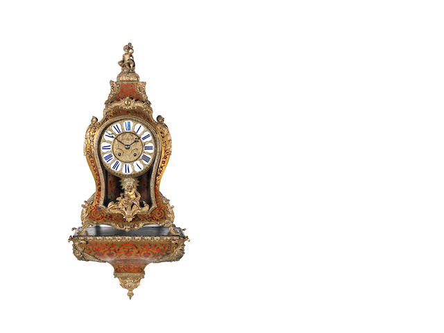 A late 19th century French Louis XV style boulle work bracket clock and matching wall bracket  The movement stamped Thos. Pearce, Paris 2