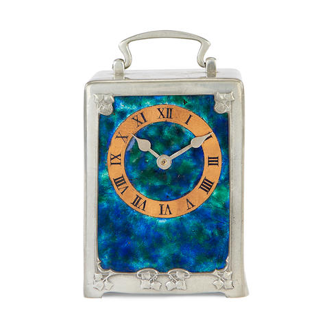 An Art Nouveau pewter and enamel carriage timepiece