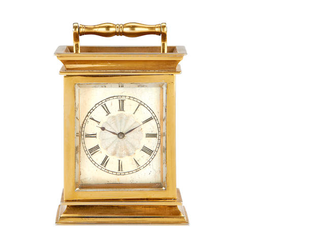 A second quarter 19th century French brass carriage timepiece