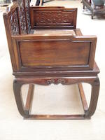 An elegant hardwood throne Mid 19th century