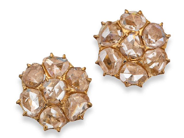 A pair of 18ct gold diamond cluster earrings