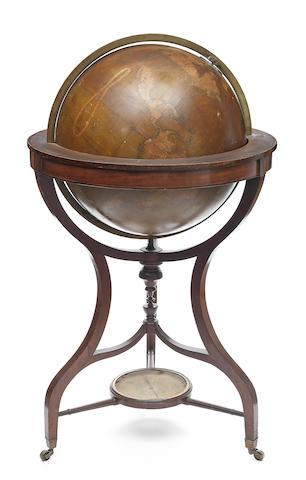 A 20-inch G. F. Cruchley terrestrial library globe,  English,  published 1859,