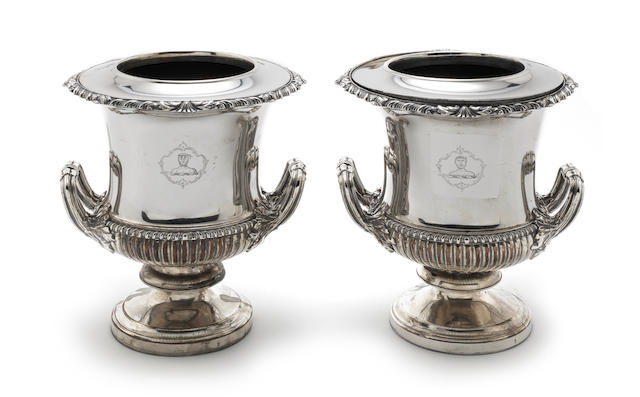 A pair of Old Sheffield Plate wine coolers  by Matthew Boulton, circa 1830; together with an Old Sheffield plate model of a crane;  (3)