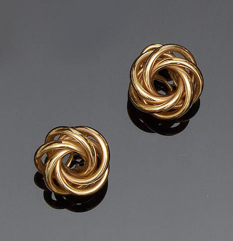 A pair of knot earrings
