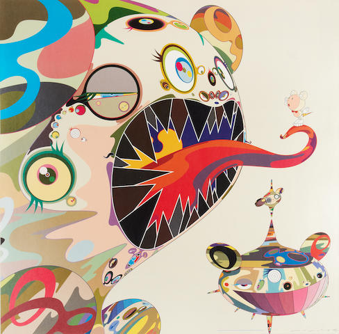 Takashi Murakami (Japanese, born 1962) Homage to Francis Bacon (Study of George Dyer) Offset lithograph printed in colours, 2004, on glossy wove, signed, dated and numbered 35/300 in black ink, published by Kaikai Kiki Co, Ltd., Tokyo, the full sheet, 690 x 690mm (27 x 27in)(SH)