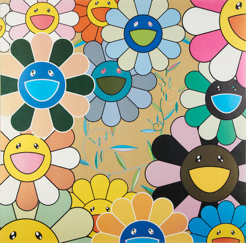 Takashi Murakami (Japanese, born 1962) Killer Pink colour offset lithograph, 2005, signed, dated and numbered 57/300 in silver ink, published by Kaikai Kiki, the full sheet, 680 x 680mm (26 3/4 x 26 3/4in)(SH)