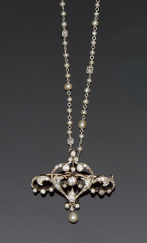 A diamond and pearl brooch and a diamond and seed pearl necklace (2)
