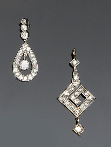 Two diamond pendants (2)