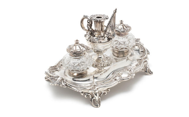 A Victorian silver desk stand probably by John Batson, London, 1882  (3)