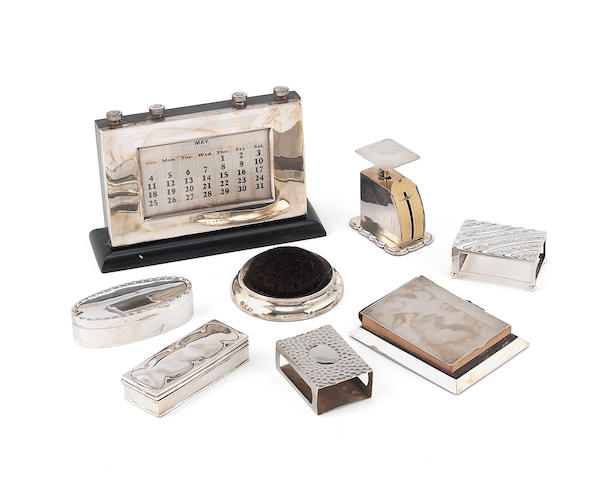 A  silver-mounted  perpetual calendar by WJ Myatt & Co, Birmingham 1913; together with a quantity of other items (8)