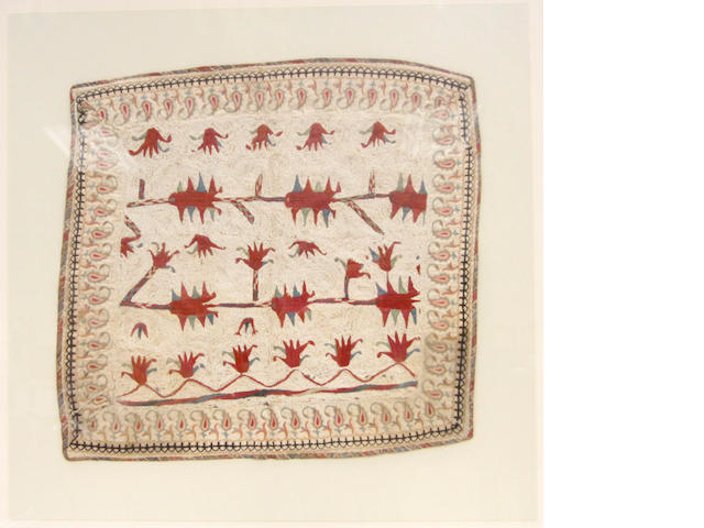 An Indian needlework textile fragment, 19th Century and reconstructed,