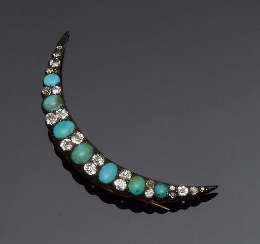 A Victorian turquoise and diamond crescent brooch