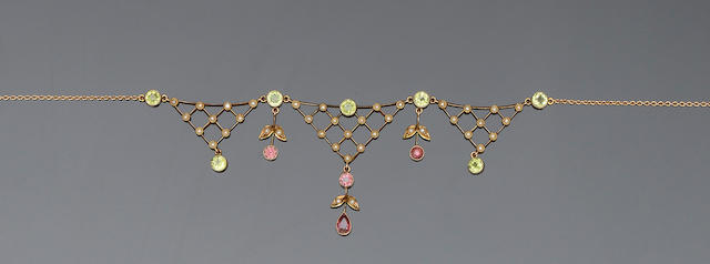 A peridot, tourmaline and seed pearl necklace