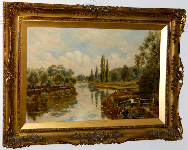 Theodore Hines The Thames at Shiplake Mills 38 x 55cm