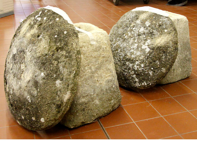 A pair of 19th Century staddle stones.