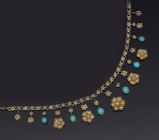 A turquoise and seed pearl fringe necklace
