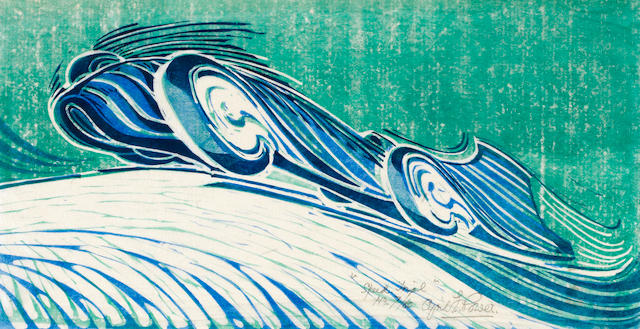 Cyril Edward Power (British, London 1872-1951) Speed Trial Linocut printed in viridian, permanent blue and Chinese blue, a strong and vibrant impression, on buff oriental laid tissue, signed, titled and numbered 7/60 in pencil, additionally signed in lower margin, with margins, 196 x 375mm (7 3/4 x 14 3/4in)(B)