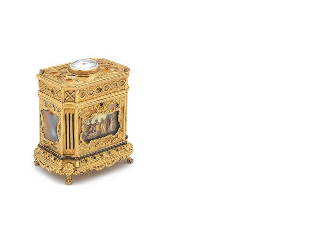 A fine and rare late 18th century moss agate and stone set gilt metal musical casket with automata scene in the manner of James Cox The watch movement by J. Stroud, London