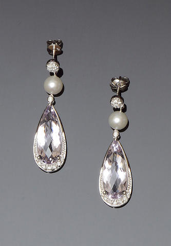 A pair of kunzite, cultured pearl and diamond earpendants