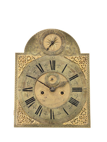 A good early arched longcase dial and movement  Windmills, London