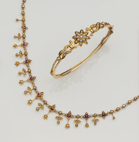 A half pearl bangle and a ruby and seed pearl fringe necklace (2)
