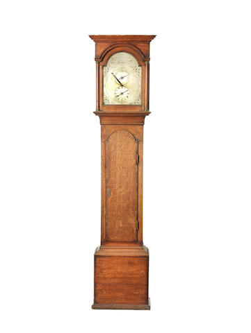 An exceptional last quarter of the 18th century mahogany crossbanded oak thirty hour clock James Newman, Lewes