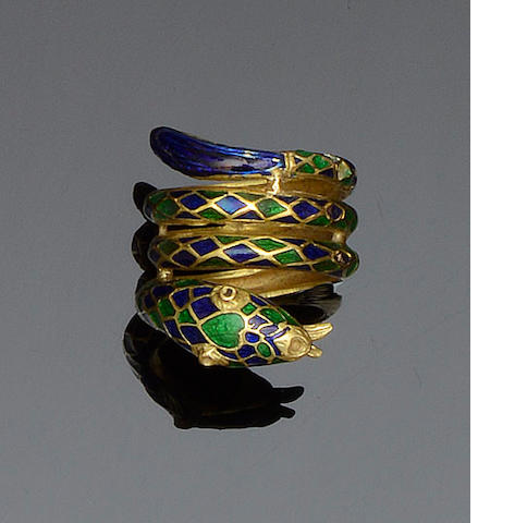 An enamel serpent ring