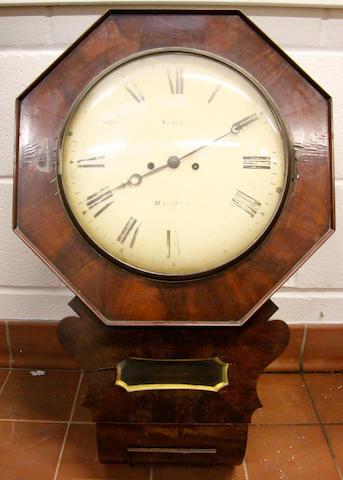 A mid-Victorian mahogany drop-dial wall timepiece