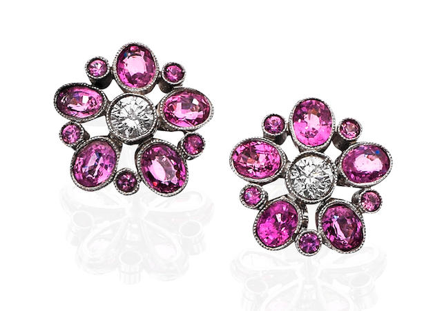 A pair of pink sapphire and diamond cluster earrings