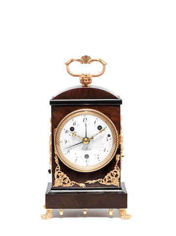 A rare early 19th century Swiss mahogany grand-sonnerie musical pendule d'officier with alarm and calendar Robert